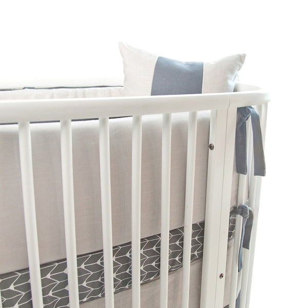Crib Bedding - Linen Bumper - Charcoal Piping And Ties - Outlet