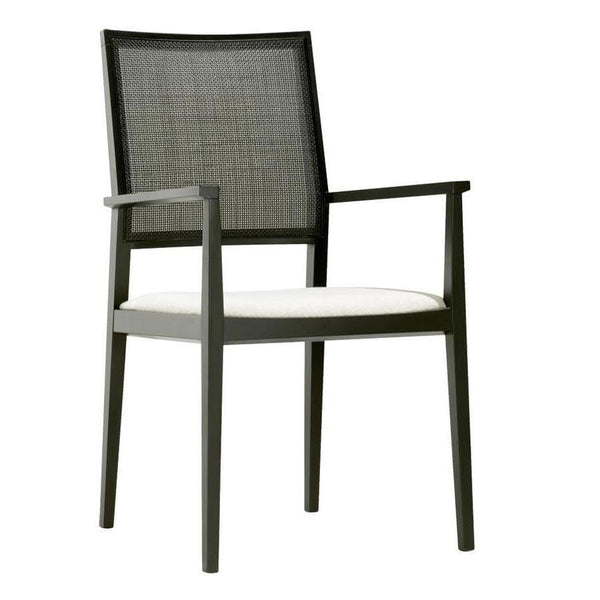 Manila High Back Armchair - Beech Frame, Upholstered Seat, Wicker Back