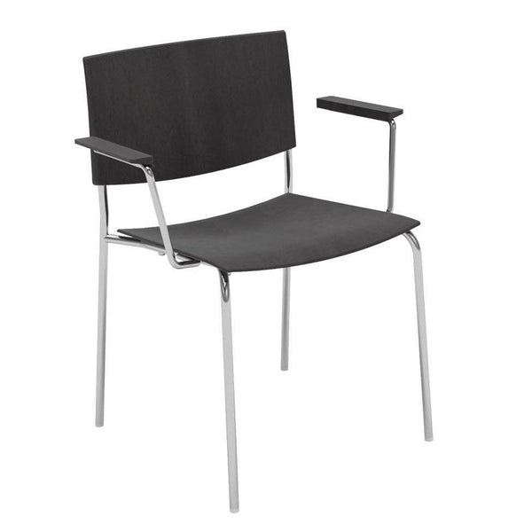 Sit Wood Armchair - Steel 4-Leg Base