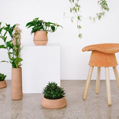 Flower Pots & Planters - Pleated Vase Earthenware