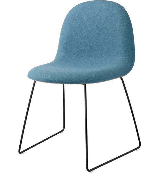 Gubi 3D Dining Chair - Sledge Base - Front Upholstered, Wood Shell
