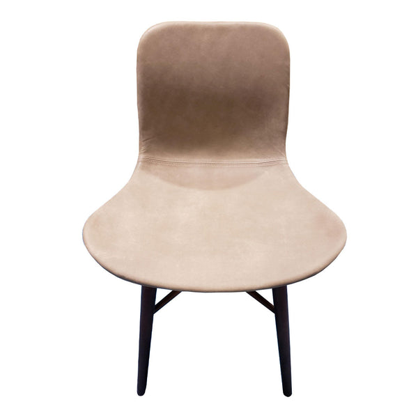 Langue Original Dining Chair - Upholstered - Gray Leather / Beech - Smoked - Outlet