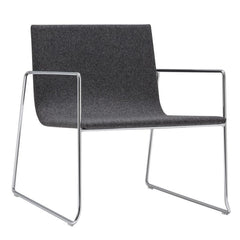 Lounge Chairs - Lineal Lounge Chair With Armrests - Steel Sled Base, Upholstered Shell