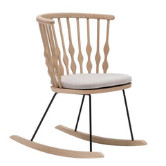 Nub Armchair with Removable Upholstered Seat Cushion - Beech Wood Rocker Base