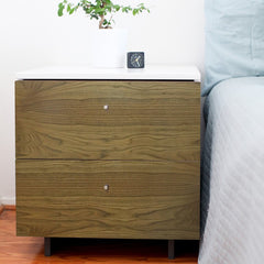 Nightstands - Roh Nightstand - Walnut With White