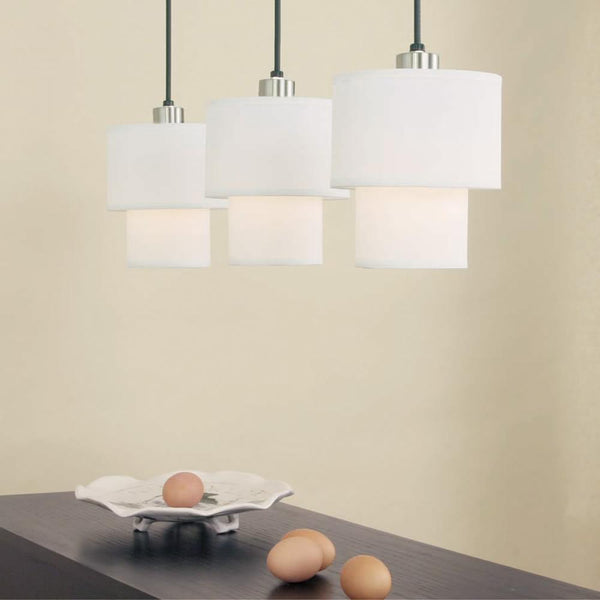Outlet - Deco Small Pendant Lamp - Shade: White Linen Shade - Outlet Item (Condition: Opened Box)