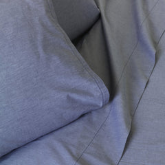 Outlet - Dover Chambray In Ocean - Twin Fitted And Flat Sheets - Outlet Item (Condition: Opened Box)
