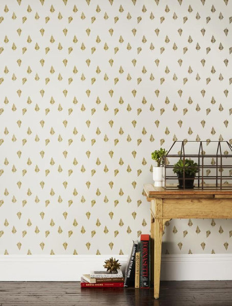 Outlet - Lisa Congdon For Ferns In Gold Wallpaper Outlet Item (Condition: Opened Box)