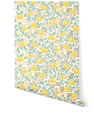 Outlet - Rifle Paper Co. For - Rosa Wallpaper Roll In Yellow - Outlet Item (Condition: Open Box)