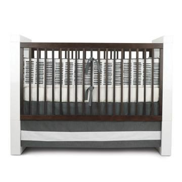 Outlet - Sticks Crib Bedding - Solid Band Crib Skirt In Pewter Outlet Item (Condition: Opened Box)