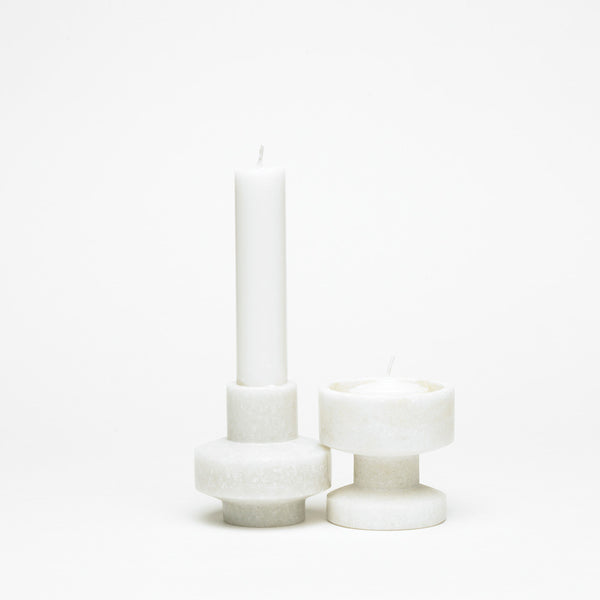 Outlet - Tools Candleholder White Marble - Set Of 2 - Outlet