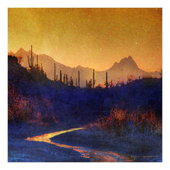 Sunset Saguaros Stream Painting