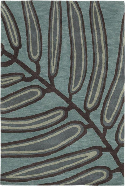 Aschera 6404 Area Rug - Blue/Dark Brown