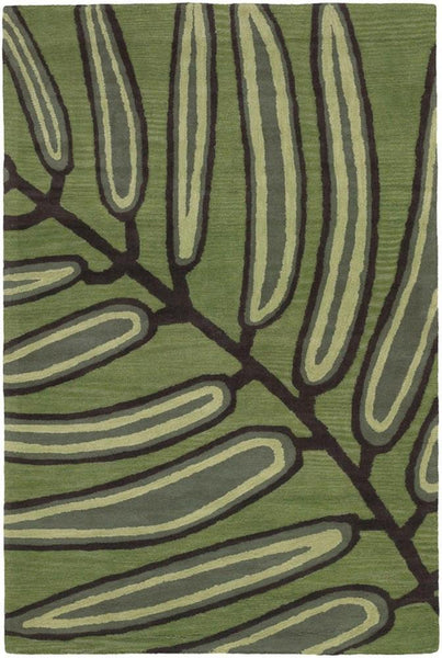 Aschera 6406 Area Rug - Green/Dark Brown