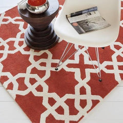 Rugs - Davin 25805 Rug - Orange/White