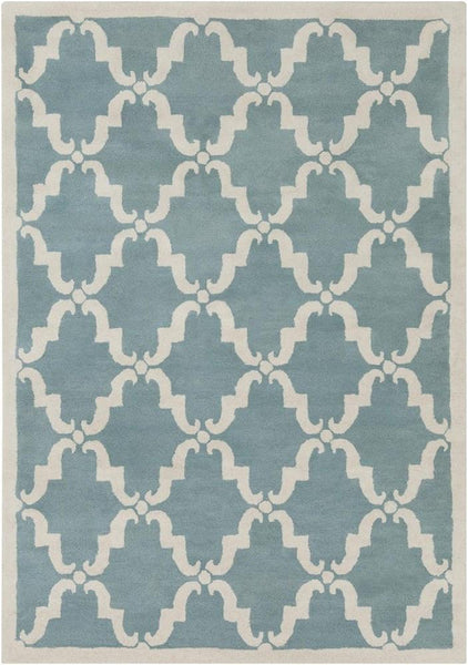 Davin 25827 Rug - Light Aqua/White