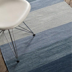 India Striped Rug - Blue