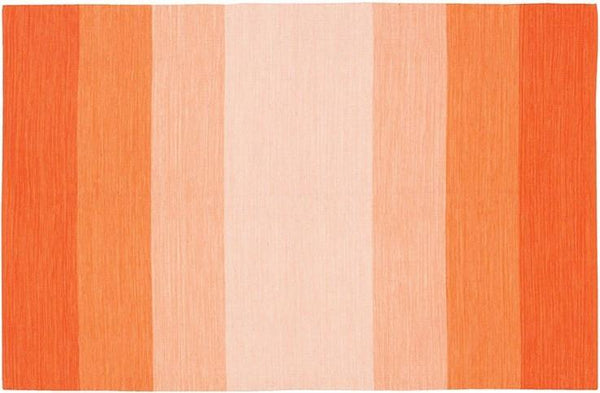 India Striped Rug - Orange/Cream