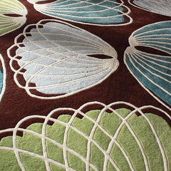 Rugs - Lotus In Chocolate & Cornflower Hand-Tufted Wool Rug