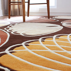 Rugs - Lotus In Chocolate & Persimmon Hand-Tufted Wool Rug