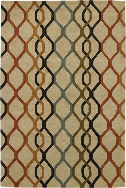 Rowe 11125 Area Rug - Beige/Orange/Rust/Black/Blue/Green