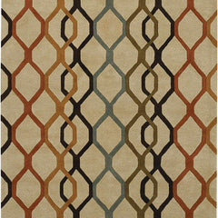 Rugs - Rowe 11125 Area Rug - Beige/Orange/Rust/Black/Blue/Green