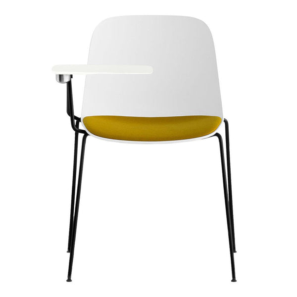 Seela Chair w/ White Tablet - 4-Legs, Seat Upholstered