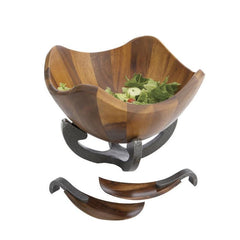 Serving Bowls - Anvil Scroll Wood Salad Bowl W/ Servers