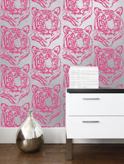 Aimee Wilder Wallpaper - Mylar Star Tiger - Neon, Roll