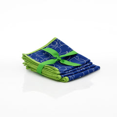 Table Linens - Letters Cocktail Napkin Set - In Blue With Green Trim - Set Of 4