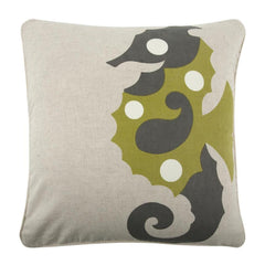 Throw Pillows - Amalfi Sea Horse Flax Pillow