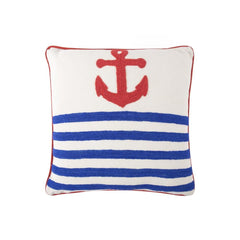 Throw Pillows - Anchor Crewel Work Pillow - Red