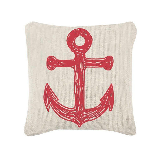 Throw Pillows - Anchor/Flag Sketch Pillow - Red