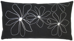 Hawaii Rectangular Pillow - Black with White Stitch