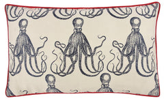 Throw Pillows - Octopus Jacquard Pillows - Red
