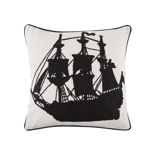 Throw Pillows - Ship Crewel Work Pillow - Black