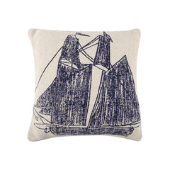 Throw Pillows - Ship/Wheel Sketch Pillow - Navy