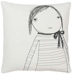 Strange Portrait Series - Girl with Bow Pillow
