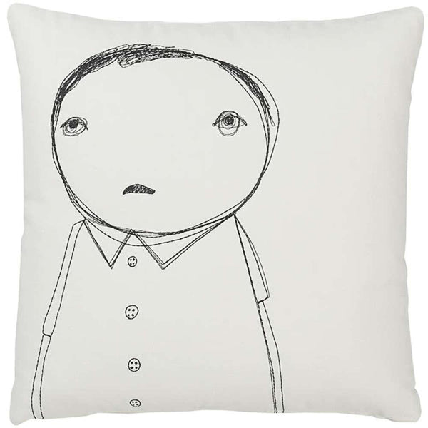 Throw Pillows - Strange Portrait Series - Man With Buttons Pillow