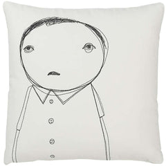 Strange Portrait Series - Man with Buttons Pillow