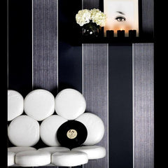 Wallpaper - Bold Stripe Black And Charcoal Wallpaper