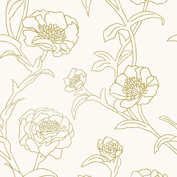 Wallpaper - Peonies Temporary Wallpaper - Gold Leaf