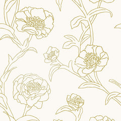 Peonies Temporary Wallpaper - Gold Leaf