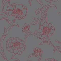Wallpaper - Peonies Temporary Wallpaper - Rouge