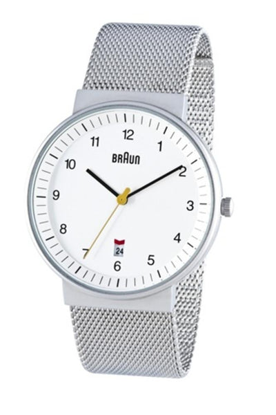 Men's Analog Watch - White Face, Matte Case, Stainless Steel Mesh Band