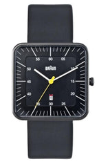 Watches - Men's Square Analog Watch - Black Face, Black Leather Band