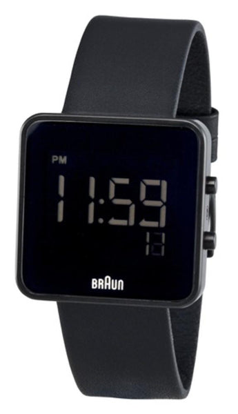 Men's Square Digital Watch - Black Face, Black Leather Band