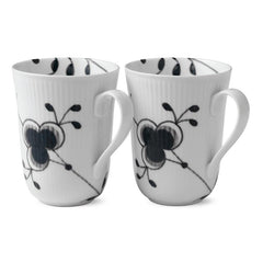 Black Fluted Mega Mugs - Set of 2