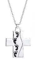 Foot Prints Cross Necklace