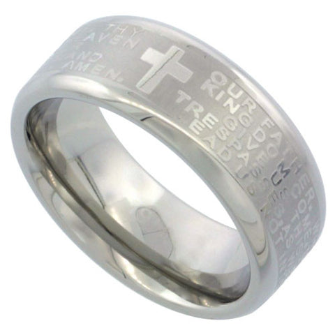 Lord`s Prayer Comfort-Fit Stainless Steel Ring - powerofchrist